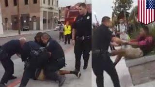 Policías golpean a un menor de edad en California por cruzar la calle imprudentemente