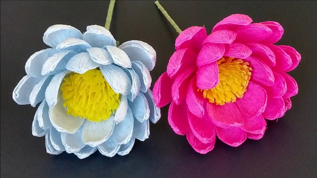 Latwe Kwiaty Z Krepiny Tutorial Flower Youtube