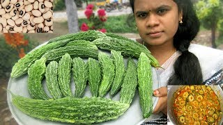 Karela Recipe in My Village | Cooking Bitter Gourd With Cowpea Recipe | VILLAGE FOOD