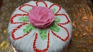 Торт рецепт МЕДОВОГО бисквита со сметано шоколадным кремом Украшение торта СЛИВКАМИ