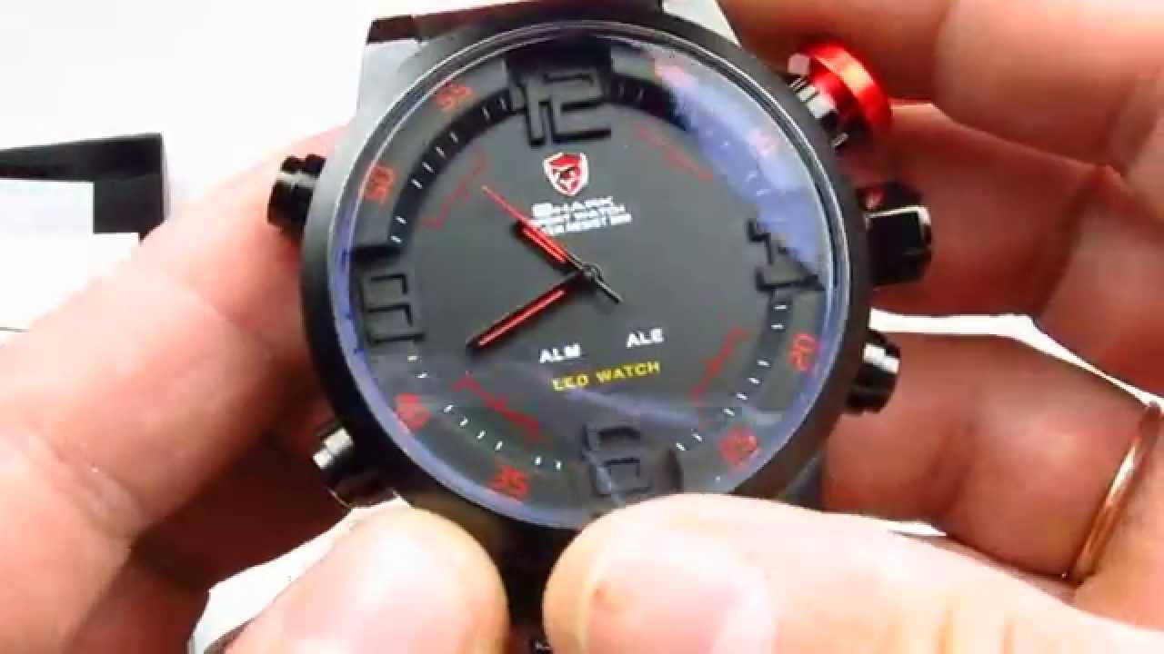 d9cc7e15b134 Мужские часы Shark SH105 Digital LED Sport Watch Red - YouTube