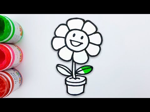 Glitter Flower Drawing And Coloring - How To Draw Flower Pot For Kids