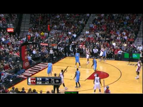 Nicolas Batum highlights 9 threes vs Nuggets (04.02.2012)