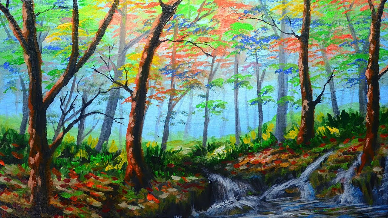 Mystical and Misty Forest & Autumn Trees with River Painting ...