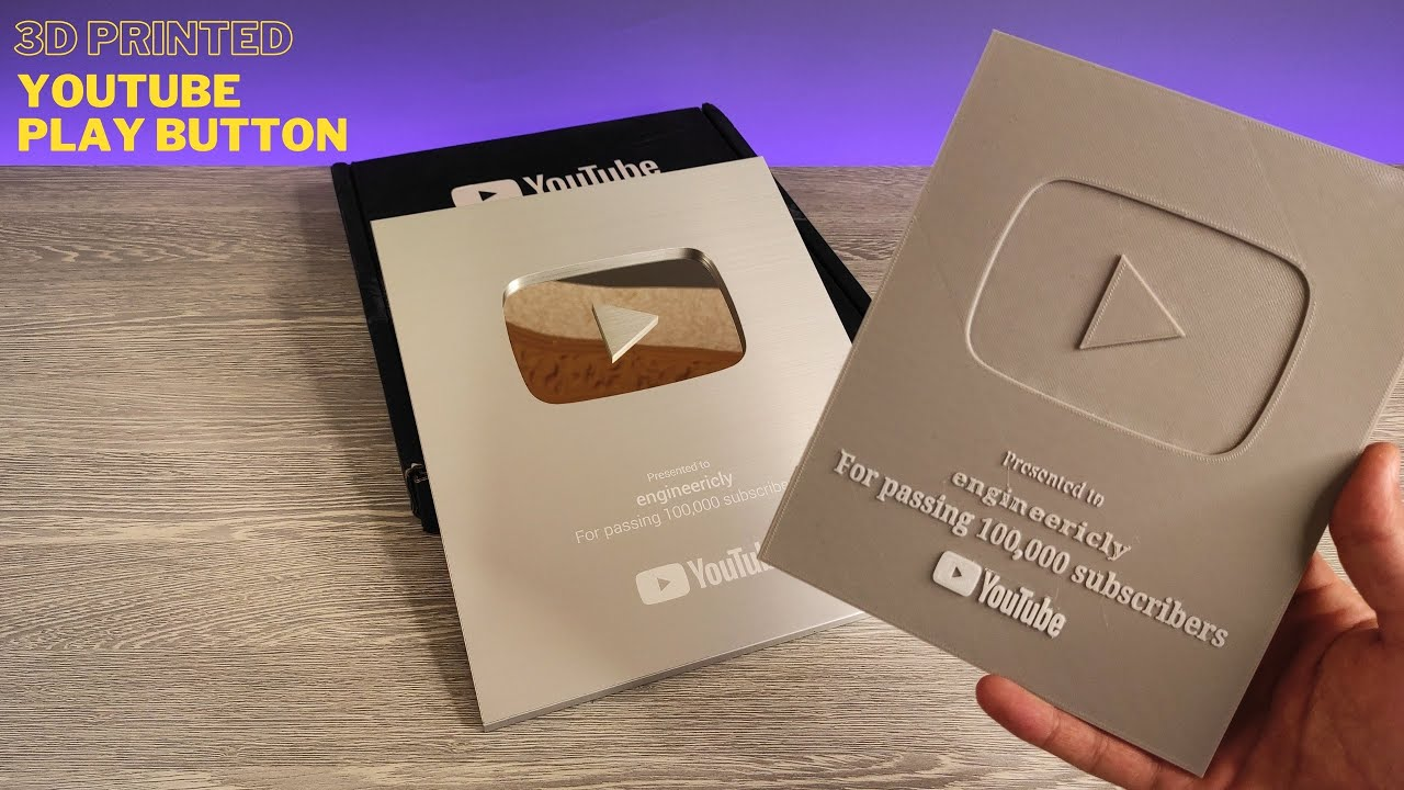 3D Printed YouTube Play Button vs Real One for 100K Subscribers
