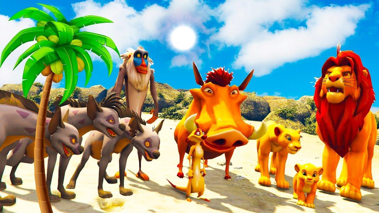 O Rei Leão (Lion King) Timon & Pumbaa and Shenzi Banzai Ed Desafio na Mega Rampa GTA V MODS