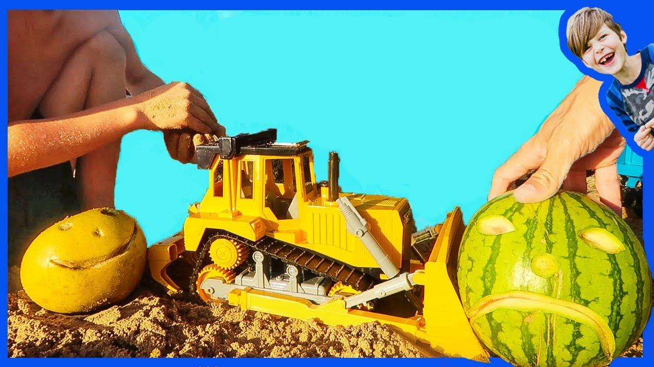 construction trucks for children bulldozer makes a pool youtube