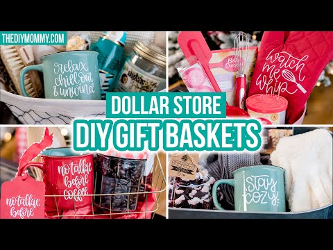 GIFT IDEAS 🎁 Dollar Store gift baskets personalized with Cricut!