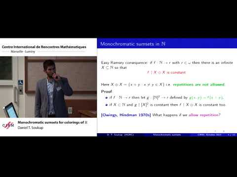 Daniel T. Soukup :  Monochromatic sumsets for colorings of R
