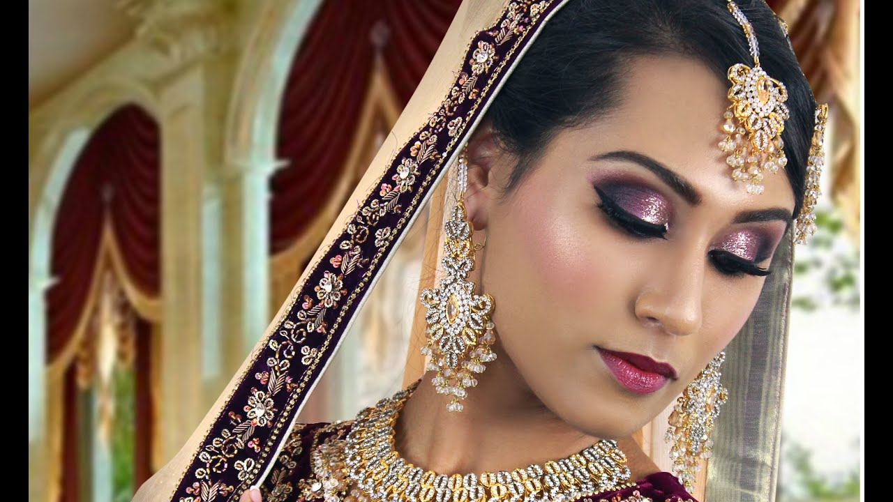 Purple And Silver Glitter Pakistani Indian Traditional Bridal Makeup Tutorial
