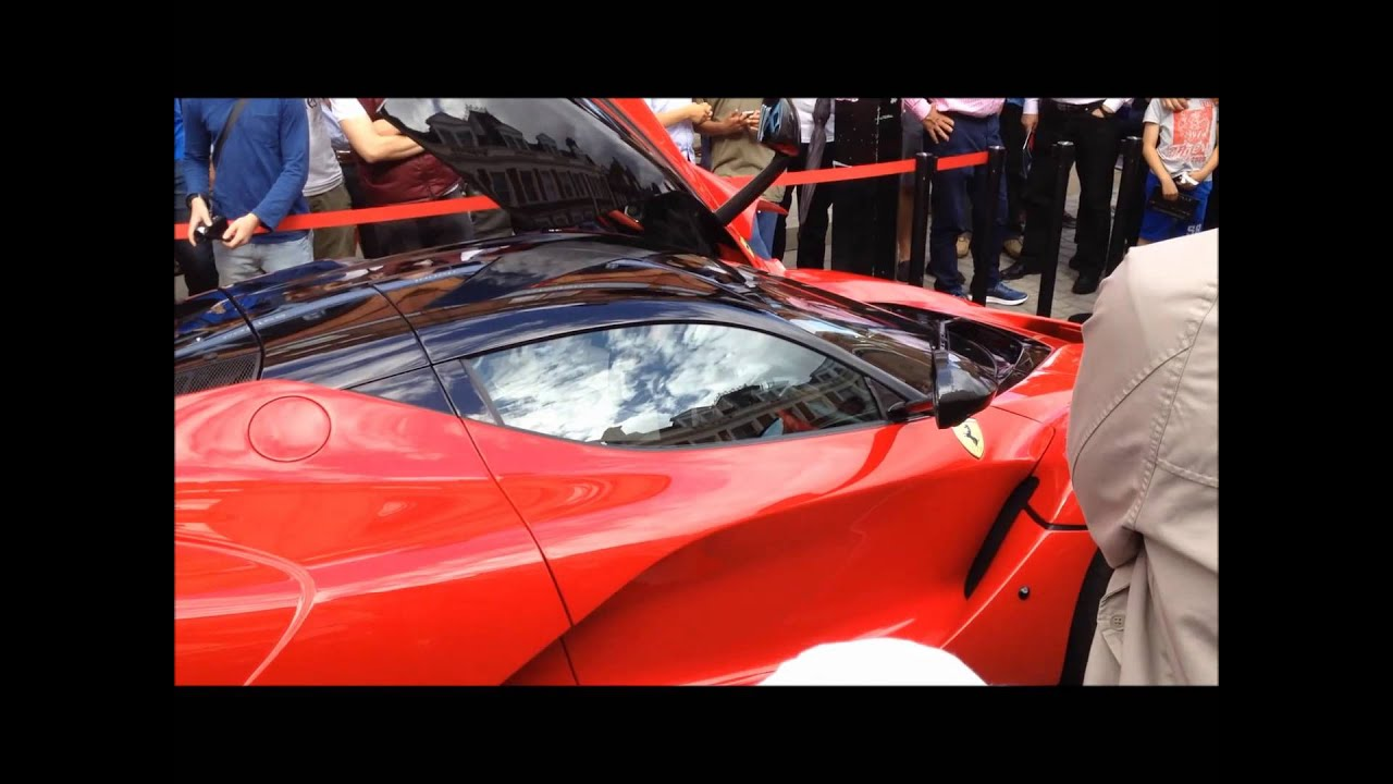 Ferrari  LaFerrari  pulls aways - with gullwing doors u0026 snarling engine & Ferrari