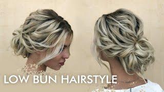 Свадебная прическа Низкий пучок Bridal Hairstyle Low Beam