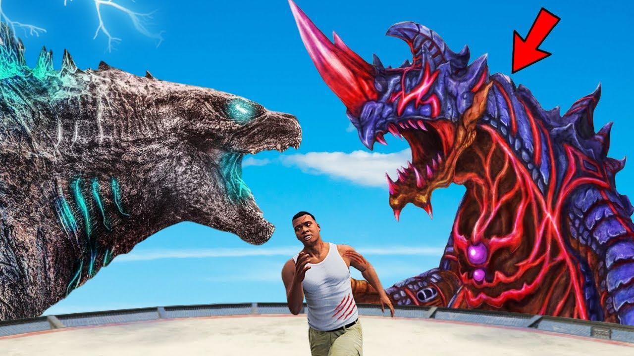 Download Red GODZILLA vs Blue GODZILLA Fight AND Destroys Los Santos In GTA 5 | EPIC BATTLE