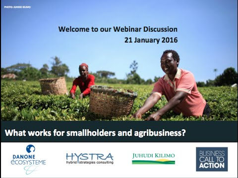 WEBINAR 21.01.2016 SMALL FARMERS AND BUSINESS: BEST PRACTICES FROM THE FIELD