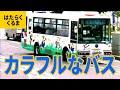 バス(1)カラフルなバス:カナリヤ号/りんどう号/路線バス/横浜市営バス/新幹線バス/ロンドンバス/D-51バス/品川水族館行きバス/カナちゃん号