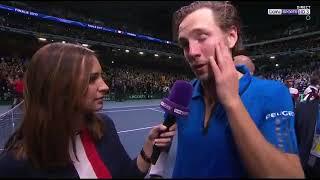 Reaction et emotion de Lucas Pouille après sa victoire en coupe Davis