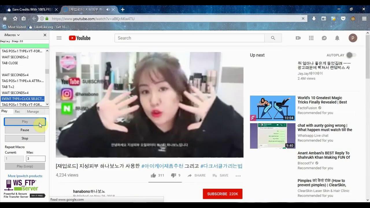 Like4Like Youtube Auto Likes 2 Imacros script Bot for Free