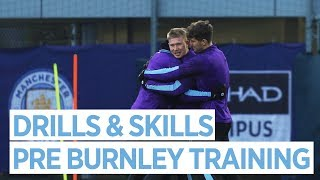 FUN DRILLS & SKILLS | Man City train ahead of Burnley