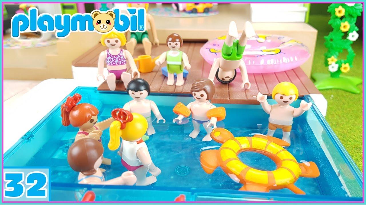 Playmobil 32 sorpresa la nueva piscina y fiesta con los for Piscina playmobil
