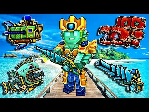 Pixel Gun 3D - Atlantis Season Battle Pass Weapons Review Gameplay