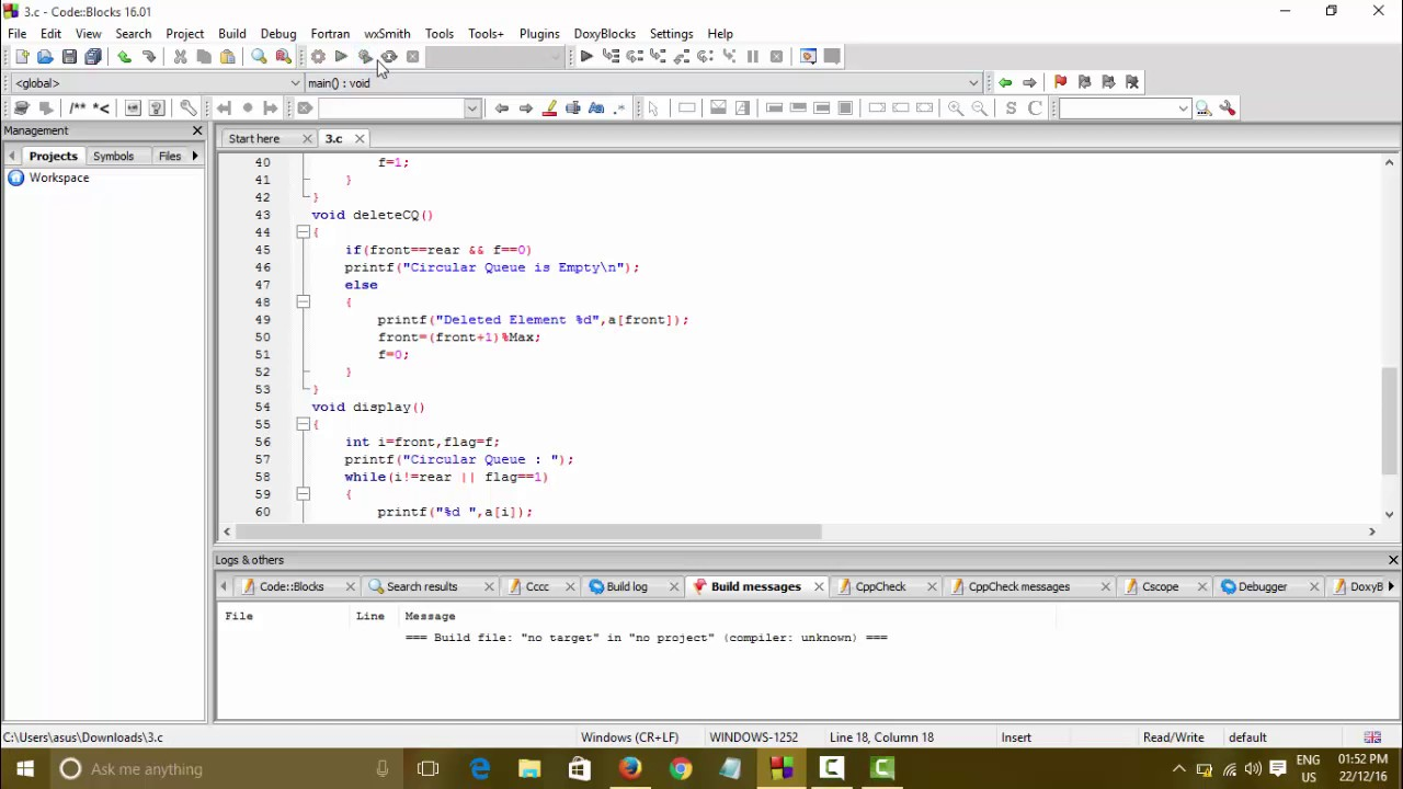 Data Structure & Algorithms | Circular Queue | Insertion , Deletion ,  Display Program