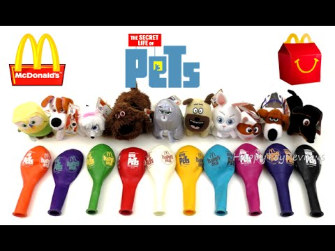 2016 McDONALD'S THE SECRET LIFE OF PETS MOVIE HAPPY MEAL TOYS BALLOONS COMPLETE SET OF 10 COLLECTION