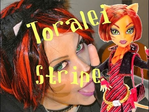MONSTER HIGH TORALEI STRIPE MAKEUP TUTORIAL COSPLAY - HALLOWEEN