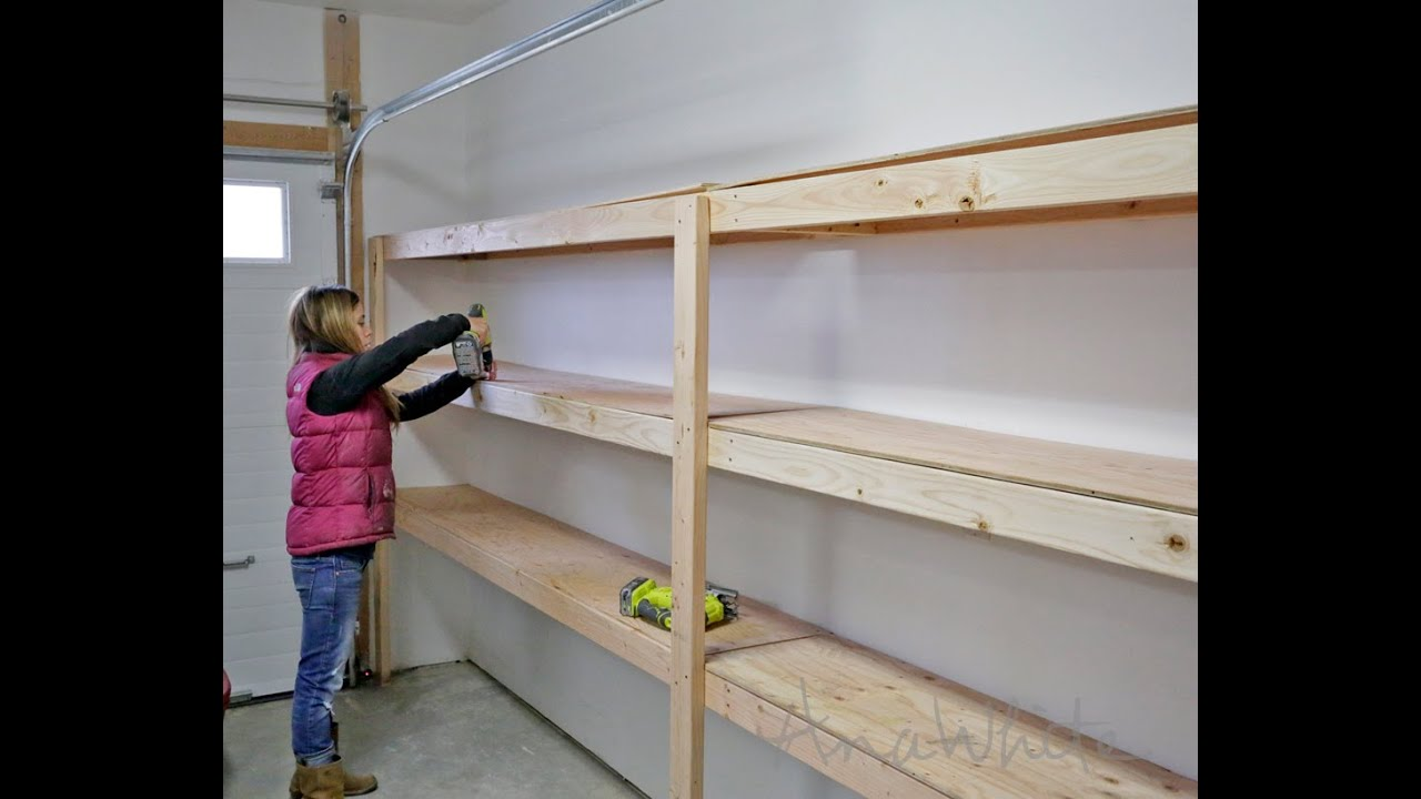 How to build garage shelving easy cheap and fast youtube for Garage storage plans