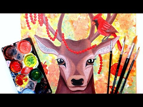 Deer & Cardinal Autumn Acrylic Painting Tutorial || Animal Artists Collective – Temperate Forests