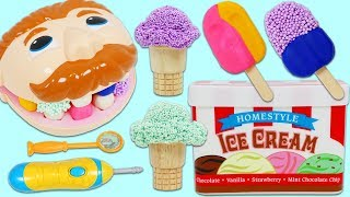 Feeding Mr. Play Doh Head Play Foam Ice Cream Scoops and Play Doh Popsicles!