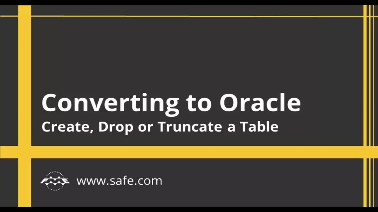 Converting to Oracle - Create Drop or Truncate a Table  sc 1 st  YouTube & Converting to Oracle - Create Drop or Truncate a Table - YouTube