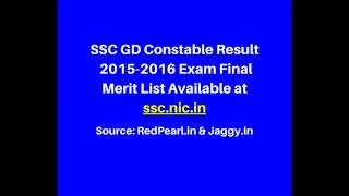 SSC GD Constable Result 2015-2016 | Final Merit List Available | Jaggy