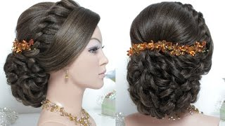Wedding prom hairstyle for long hair tutorial. Bridal updo step by step