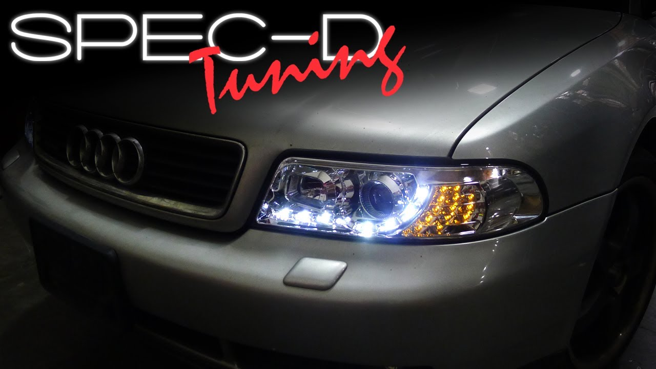 hight resolution of specdtuning installation video 1999 2001 a4 projector headlights youtube