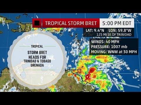 "Tropical Storm ""BRET"" takes aim @ TRINIDAD & TOBAGO / GRENADA. NOT A THREAT TO JAMAICA @ THIS TIME"