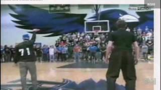 !!BASKETBALL SHOT BLINDFOLDED FROM HALF COURT!!