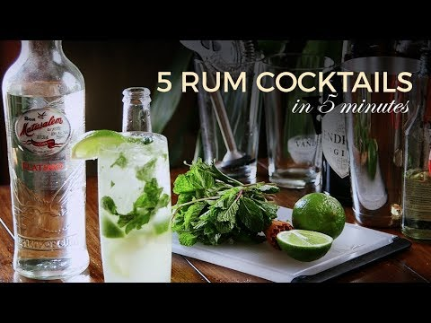Learn How To Make: FIVE Rum Cocktails In FIVE Minutes