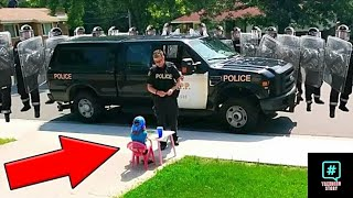 The girl was selling lemonade then cops surrounded her