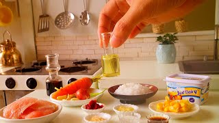 MINIATURE COOKING BUTTERED MEAT MIXED RICE | MINI REAL FOOD | ASMR COOKING SOUND | KITCHEN SET