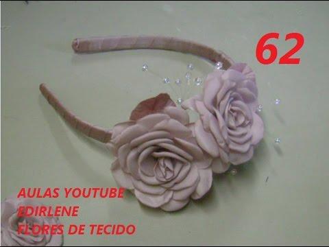 AULA 62 TIARA DE DAMA COM FLORES DE TECIDO