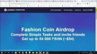 FASHION COIN - Airdrop от биржи LATOKEN! Получаем до 54000 монет FSHN стоимостью $ 54 за участие!