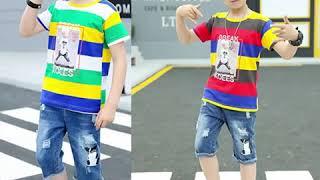 Детская одежда для мальчиков красивая футболка с короткими рукавами джинсы комплект из двух частей