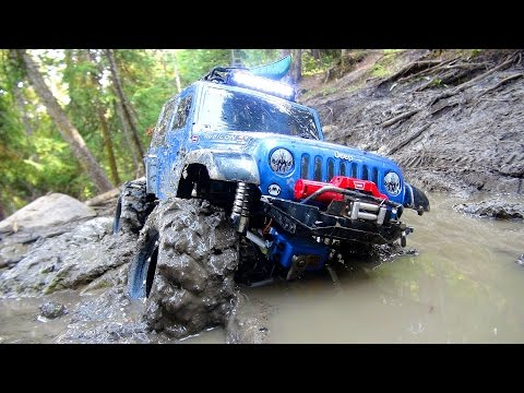 RC ADVENTURES - Stuck In Mud - Swamp Bogging In A 4x4 Jeep Wrangler Rubicon Radio Controlled Truck