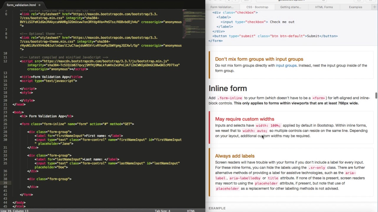 Form validation html bootstrap part 1 youtube form validation html bootstrap part 1 falaconquin