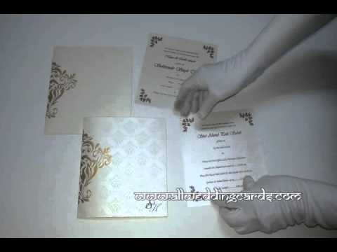 W-4369, 250 GSM, Gold Color, Shimmer Ivory Paper, Designer Wedding Invitations
