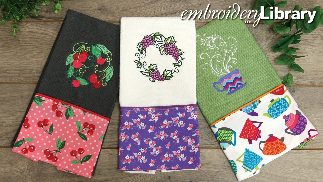 Let 39 s dish embroidered kitchen towels youtube - Free embroidery designs for kitchen towels ...
