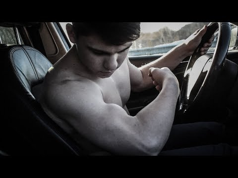 15 years old siberian muscle boy flexing and wrestling in snow