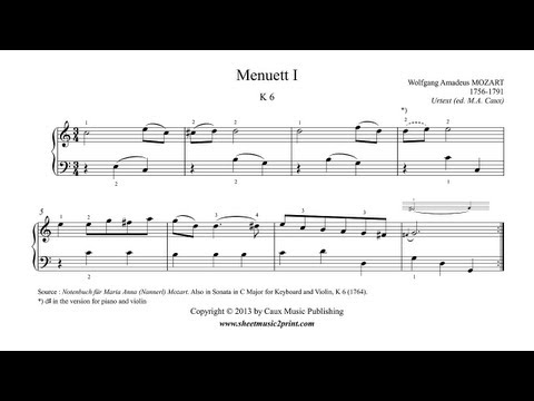Mozart : Minuet 1 in C Major, K 6