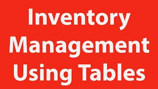 Inventory And Inventory Control