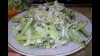 Фитнес салат из пекинской капусты с огурцом
